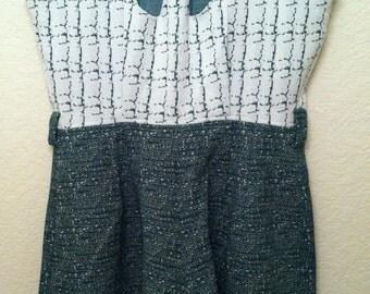 60s MOD Green White Hippie BOHO Sun Suit Shorts Set ROMPER Shorts Jumper Cleavage