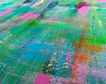 Neon Splashes Abstract Acrylic Painting