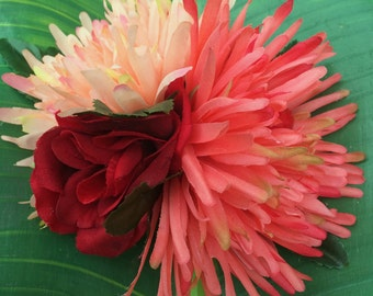 Substantial Large Red Rose, Coral & Pink Chrysanthemum Hair Clip