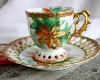 Chubu China Cup and Saucer Set (Demitasse Set,, Floral cup and saucer, Japanese China, Chubu, Japan, China collection, Vintage China)
