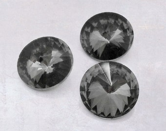 10 x Black Ice Faceted 12mm Glass Pointback Rhinestones Rivoli Chaton Back Plated SS50