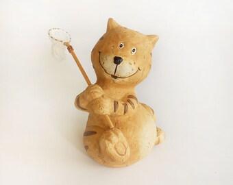 Clay Cat Figurine, Cat Collectible, Cat Décor, Cat Home Décor, Collect Figurine Cat, Cat Figurine,Cat Collector, Vintage Cat Décor, Clay Cat