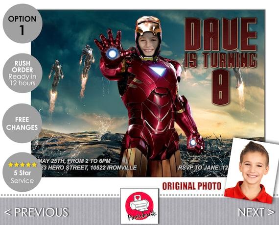 Iron Man Invitation - Tony Stark Birthday Invite - Marvel Invitations and many more at Printadorable
