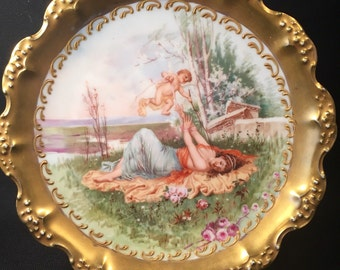 Antique Limoges Coiffe Plate by B&H