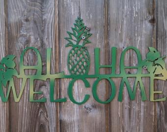 Aloha Sign Wooden Hawaiian Hello Greeting Hawaiian Decor