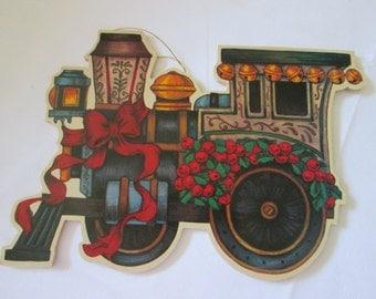 Vintage wood plate Train