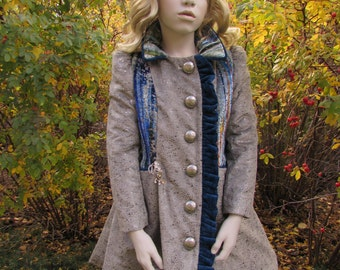 Beautiful blue, velvet coat, quilted lining with embroidery design - W1 - Bespoke Bambino