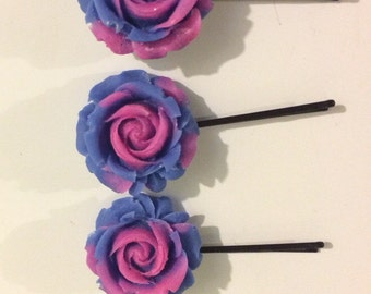Resi Rose Jewelry Set / Flower Bobby Pin Set / Pink and Blue / Hair Accessories