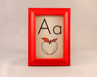 A is for Apple framed vintage flash card