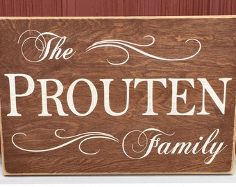 "Rustic Wood Sign - Family Name Wall Plaque - 12"" x 18"""