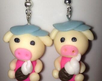 Pigs eating icecream earrings