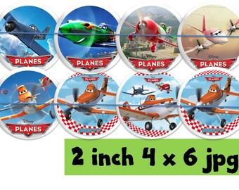 "planes inspired 2"" circles 4x6 printable  cupcake topper"