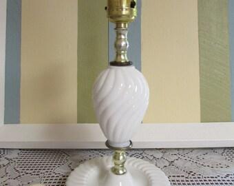 MID-CENTURY  milk glass electric lamp SWIRL pattern