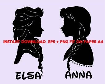 Frozen Elsa and Anna, Clip Art,T shirt, iron on, sticker, Vectors files,couple clipart