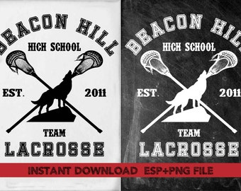 Bacon Hill team Lacrosse clipart ,T shirt, iron on , sticker, Vectors files