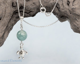 "WORLD TURTLE sterling silver necklace with an Aquamarine bead pendant on 18"" chain march birthstone blue sea ocean fish"