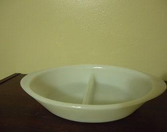 Vintage GlasBake Divided Milk Glass Dish