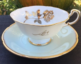 Paragon White Vintage Teacup with Gold Rose and Mint Green Saucer MisMatched set
