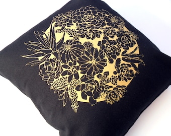 Black & Gold Succulent Cushion