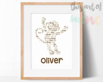 Personalised Monkey Name Print - Printable Digital Download, Print Your Own - Custom Nursery Wall Art - Jungle Theme - Typography Print