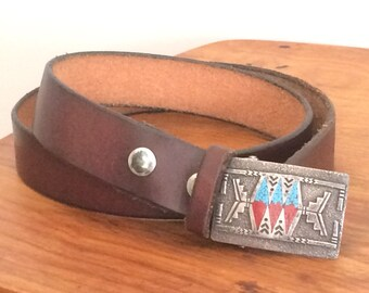 Vintage Leather Belt with Aboriginal Pattern Sterling Silver Buckle