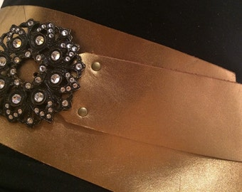 Vintage Golden Leather Metal Belt and Buckle with Rhinestones