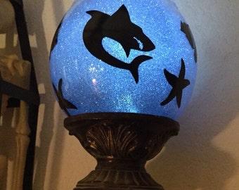 Shark aquarium globe candle holder