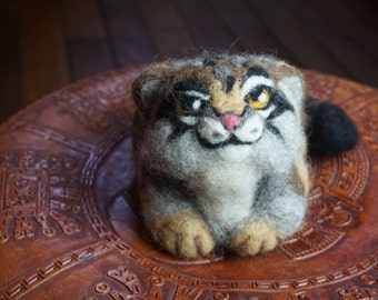 Pallas Cat, Manul, Asian Animal Needle Felted Soft Sculpture