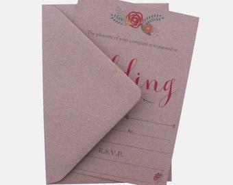 10 Vintage Reception Invitations with envelopes 052 evening invites