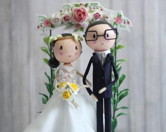 Custom wedding cake topper, Wedding doll, Wedding dolls gift, Wedding couple, Bride, Groom, Wedding ceremony, Cake topper figurine