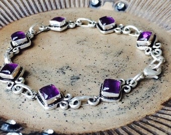 Silver and Amethyst Gemstone bracelet, Amethyst gemstone Bracelet,  silver bracelet, beautiful bracelet,