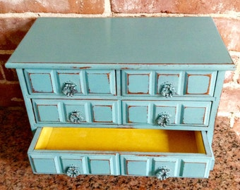 Vintage Painted Jewelry Music Box, Jewelry Organizer, Gift Idea