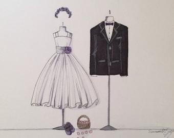 Custom Flower Girl and Ring bearer Illustration