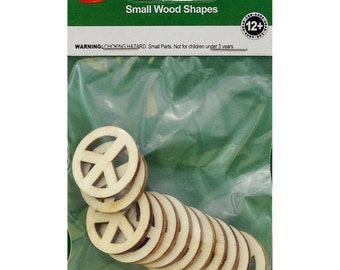 12 Pack Peace Signs Assorted Wood Shapes by Lara's Crafts