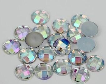 8mm Flatback Crystal Clear AB Round Acrylic Rhinestones 50pcs Non-Hotfix, Loose, Nail Art, Decoden
