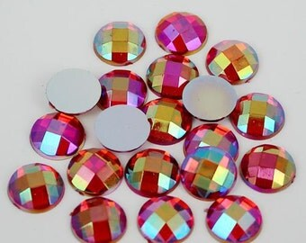 8mm Flatback Ruby Red AB Round Acrylic Rhinestones 50pcs Non-Hotfix, Loose, Nail Art, Decoden TDK-PR1742