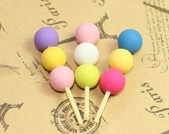 Sixlet Candy Lollipop Cabochons - 4 Pieces - Clay Kawaii Decoden Flatback Assorted, DIY Jewelry, Phone