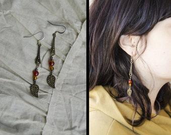 Carnelian aventurine stone natural stone brass leaf earrings