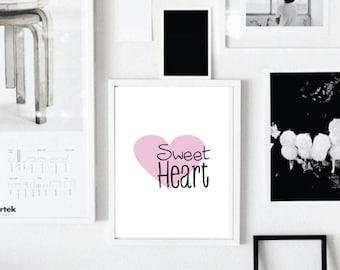 Sweet heart, Digital art, Printable, Love, Heart, Wall art, Wall decor, Home decor