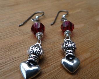 Hand Made Pink Swarovski Crystal Earrings with Silver Crown-Heart – ERU040