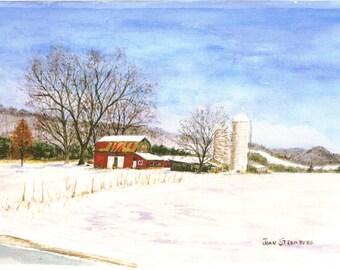 Original Artwork by Joan Stromberg Winter Farm Silos