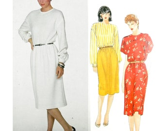 1980's Vogue American Designer Adele Simpson 2870 Misses' Dress with Gathered Skirt and Short or Long Sleeves Sewing Pattern Size 12