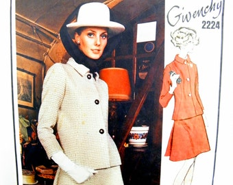 1969 Vogue Paris Original Givenchy 2224 Misses' Semi-Fitted Jacket with Darted, Rolled Collar and A-Line Skirt Sewing Pattern Size 14