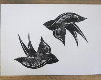 A4 swallow design handmade print