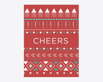 Zuni Red Blanket Cheers Holiday Greeting Card - GC1109