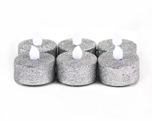 Silver Glitter Flameless Tealight Candles, Silver LED Tealights, Glitter Candles, Flameless Tealights, Battery operated candles, 24-Pack