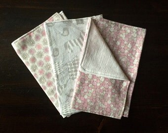 Baby Girl Burp Cloths- Pink & Grey- Set of 3