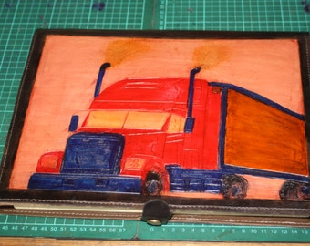Hand tooled,hand painted,  truck logbook cover