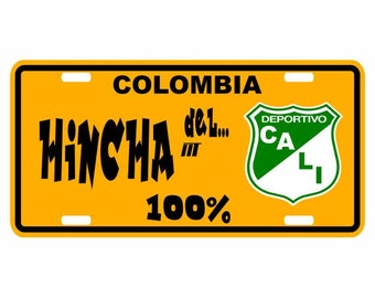 Hincha del Cali 100% - Colombia Decorative License Plate - Placa Football