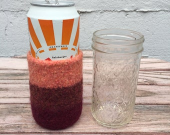 Felted wool beer cozy ombre grapefruit
